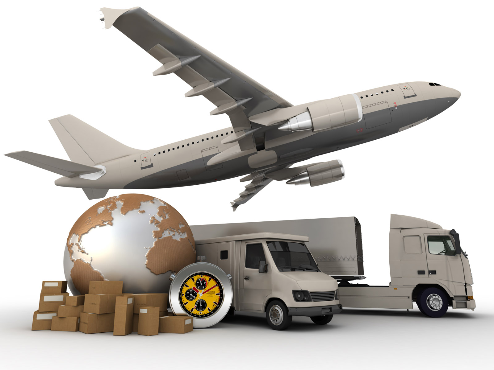 3D rendering of a world map, packages, a chronometer vans, trucks, and an airplane